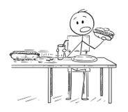 Bande dessinée de hot dog mangeur d'hommes et kola potable tandis que les fourmis volent le deuxième hot dog illustration de vecteur