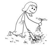 Bande dessinée de jardinier Woman Digging un trou pour l'usine Photos stock