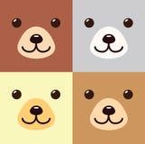 Bande dessinée de Kawaii d'ours dans l'icône mignonne différente d'ensemble de couleurs Images stock