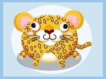 Bande dessinée de léopard Caractères drôles de dessin animé et d'animal de vecteur Photos stock