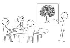 Bande dessinée de l'équipe d'affaires sur la séance de réflexion, homme d'affaires Pointing sur l'image d'arbre illustration stock