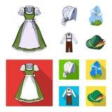 Bande dessinée de l'Allemagne de pays, icônes plates dans la collection d'ensemble pour la conception Web d'actions de symbole de Images libres de droits