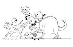 Bande dessinée de l'homme ou homme d'affaires Fighting Against Beast ou monstre ou dragon de bureaucratie illustration de vecteur