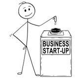 Bande dessinée de l'homme ou d'homme d'affaires Ready pour frapper ou appuyer sur le bouton de démarrage d'entreprise ou de démar Photo libre de droits
