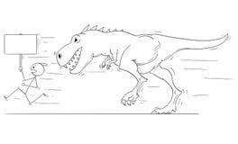 Bande dessinée de l'homme ou des hommes d'affaires courant à partir du tyrannosaure de monstre ou de la créature de Godzilla de d Photographie stock libre de droits