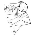Bande dessinée de l'homme soufflée par le coup d'éternuement ou de nez Photographie stock libre de droits