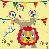Bande dessinée de lion jouant la boule avec les drapeaux colorés illustration de vecteur
