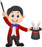 Bande dessinée de magicien retirant un lapin de son chapeau supérieur illustration de vecteur