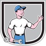 Bande dessinée de main de Hold Spanner Waving de mécanicien Photos libres de droits