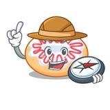 Bande dessinée de mascotte de beignet de gelée d'explorateur illustration libre de droits