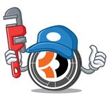 Bande dessinée de mascotte de Bitcoin Dark de plombier Photos libres de droits