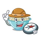 Bande dessinée de mascotte de bol de riz d'explorateur illustration libre de droits