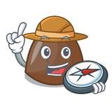 Bande dessinée de mascotte de bonbons au chocolat à explorateur illustration libre de droits