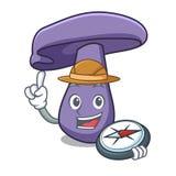 Bande dessinée de mascotte de champignon de blewit d'explorateur illustration de vecteur