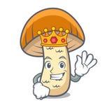 Bande dessinée de mascotte de champignon de boletus de chapeau d'orange de roi illustration libre de droits