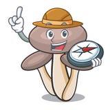 Bande dessinée de mascotte de champignon d'agaric de miel d'explorateur illustration libre de droits