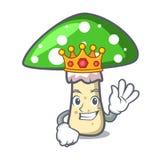Bande dessinée de mascotte de champignon d'amanite de vert de roi illustration libre de droits