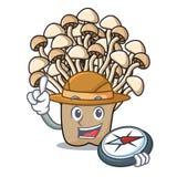 Bande dessinée de mascotte de champignon d'enoki d'explorateur illustration de vecteur