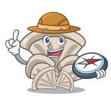 Bande dessinée de mascotte de champignon d'huître d'explorateur illustration stock