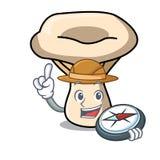Bande dessinée de mascotte de champignon de lait d'explorateur illustration libre de droits