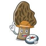 Bande dessinée de mascotte de champignon de morelle d'explorateur illustration libre de droits