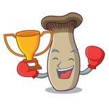 Bande dessinée de mascotte de champignon de trompette de roi de gagnant de boxe illustration libre de droits