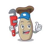 Bande dessinée de mascotte de champignon de trompette de roi de plombier illustration libre de droits