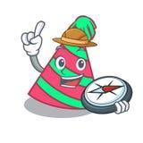 Bande dessinée de mascotte de chapeau de partie d'explorateur illustration stock