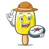 Bande dessinée de mascotte de crème glacée de citron d'explorateur illustration stock