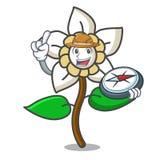 Bande dessinée de mascotte de fleur de jasmin d'explorateur illustration de vecteur