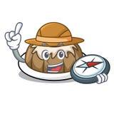 Bande dessinée de mascotte de gâteau de bundt d'explorateur illustration de vecteur