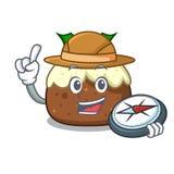 Bande dessinée de mascotte de gâteau de fruit d'explorateur illustration de vecteur