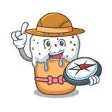 Bande dessinée de mascotte de gâteau de Pâques d'explorateur illustration de vecteur