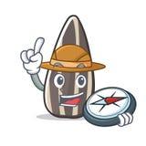 Bande dessinée de mascotte de graine de tournesol d'explorateur illustration stock