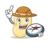 Bande dessinée de mascotte de haricot de soja d'explorateur illustration libre de droits