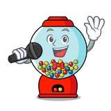Bande dessinée de mascotte de machine de gumball de chant illustration stock