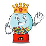 Bande dessinée de mascotte de machine de gumball de roi illustration stock