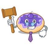 Bande dessinée de mascotte de myrtille de beignet de juge illustration de vecteur