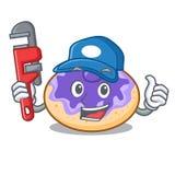 Bande dessinée de mascotte de myrtille de beignet de plombier illustration de vecteur