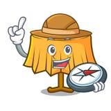 Bande dessinée de mascotte de nappe d'explorateur illustration de vecteur