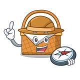 Bande dessinée de mascotte de panier de pique-nique d'explorateur illustration de vecteur