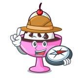 Bande dessinée de mascotte de parfait de crème glacée d'explorateur illustration de vecteur