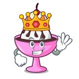 Bande dessinée de mascotte de parfait de crème glacée de roi illustration stock