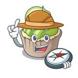 Bande dessinée de mascotte de petit gâteau de citron d'explorateur illustration de vecteur