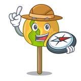 Bande dessinée de mascotte de pomme de sucrerie d'explorateur illustration stock