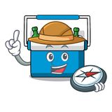 Bande dessinée de mascotte de sac de congélateur d'explorateur illustration de vecteur