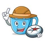 Bande dessinée de mascotte de tasse de thé d'explorateur illustration stock