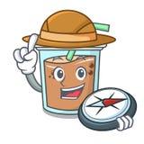 Bande dessinée de mascotte de thé de bulle d'explorateur illustration libre de droits