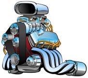 Bande dessinée de moteur de voiture de course de hot rod, un bon nombre de chrome, prise énorme, gros pots d'échappement, illustr photo stock