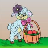 bande dessinée de moutons avec l'oeuf de pâques Images libres de droits